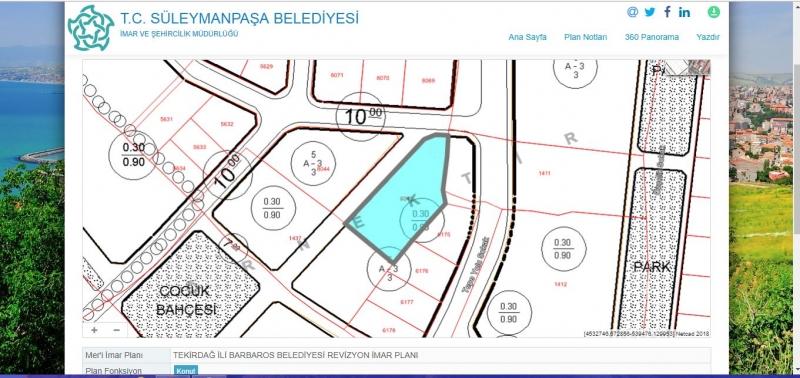 Tekirdağ Satılık Arsa Barbaros Mahallesinde 1101M2 3 Kat Konut İmarlı Deniz, Avrupanın 3 Büyük Limanı Manzaralı Lokasyonu Yüksek Arsa
