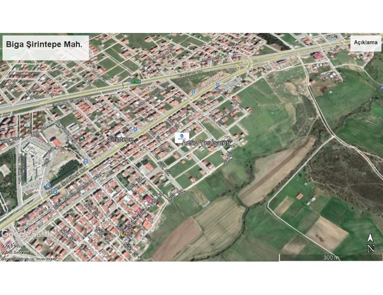 Biga İlçesi Şirintepe Mah.de Satılık çocuk parkının karşısında Doğa Manzaralı Arsa